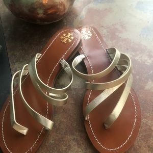 Tory Burch Gold leather sandals 8 1/2